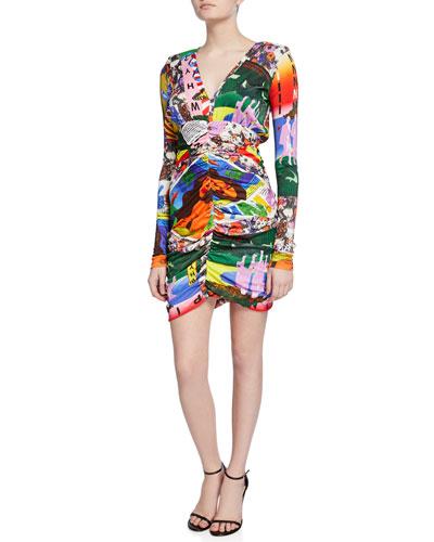 Pop Art Printed Long-Sleeve Dress
