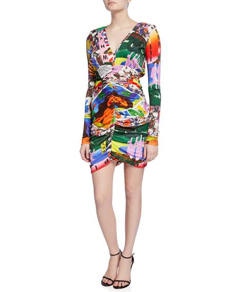 PINKO Pop Art Printed Long-Sleeve Dress
