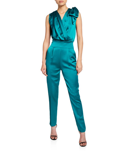 Satin Tank Jumpsuit with Bow