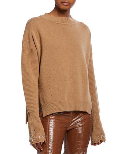 Embellished Crewneck Wool Sweater
