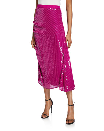 Sequined Midi Skirt with Godet