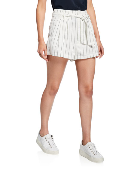 7 For All Mankind Tie-Waist Striped Shorts