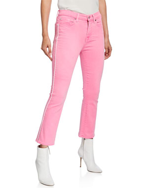 7cd85e07019cf 7 for all mankind High-Waist Slim Kick Flare Jeans with Piping