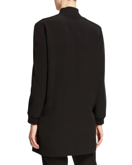 Eileen Fisher Plus Size Sleek Recycled Polyester Zip-Front Long Jacket