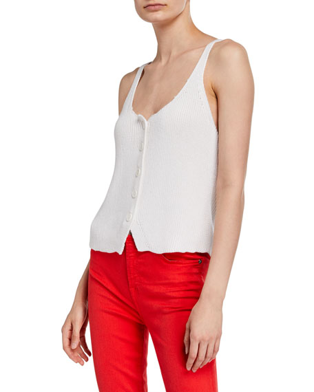 7 For All Mankind Button-Up Scoop-Neck Tank