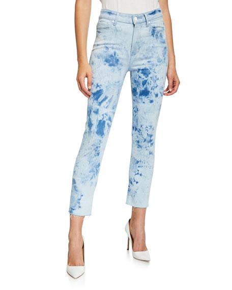 PAIGE Hoxton Slim Crop Tie-Die Jeans w/ Raw Hem