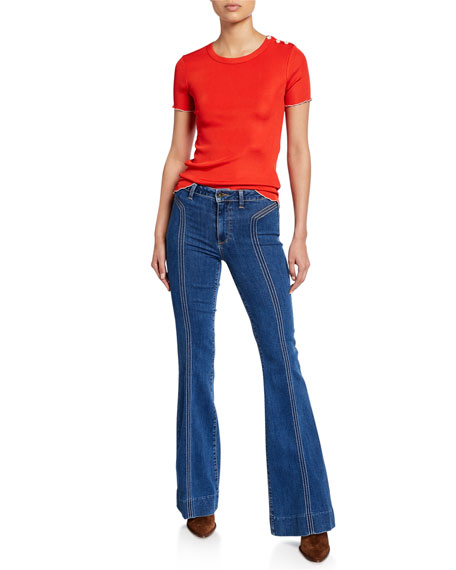 PAIGE Genevieve High-Rise Flare Jeans w/ Topstitching