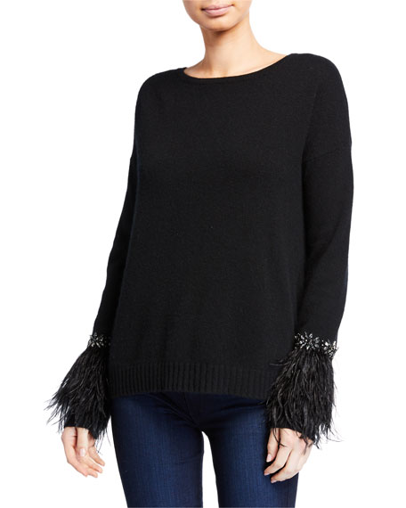 Neiman Marcus Cashmere Collection Cashmere Crewneck Sweater w/ Embellished Trim & Feather Cuffs