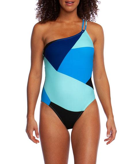 La Blanca Sips & Slices One-Shoulder Colorblock One-Piece Swimsuit