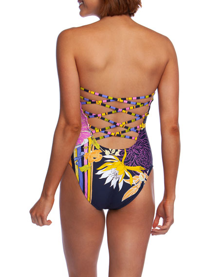 Trina Turk Bal Harbour Floral Bandeau One-Piece Swimsuit