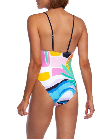 Trina Turk Mosaic Sunrise High-Cut One-Piece Swimsuit