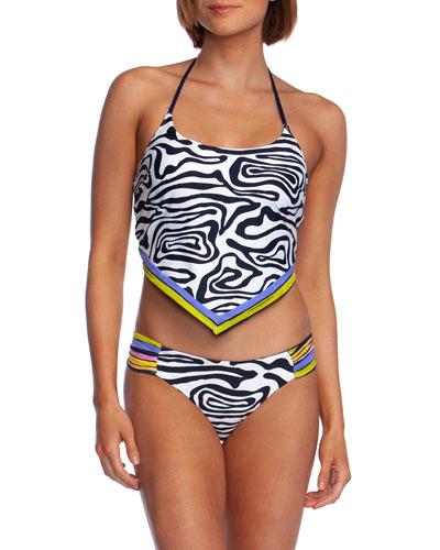 Zebra-Print Handkerchief Halter Tankini Top