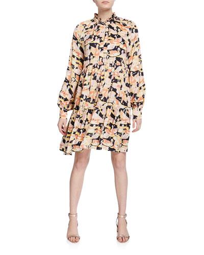 Jasmine Swan-Print Tiered Dress