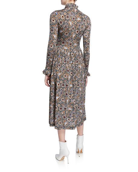 Stine Goya Clarabelle Printed Long-Sleeve Midi Dress
