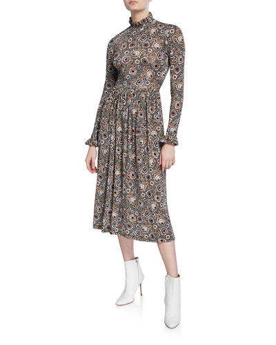 Clarabelle Printed Long-Sleeve Midi Dress