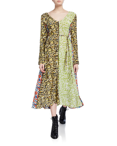 Maca Paneled Floral Long-Sleeve Dress