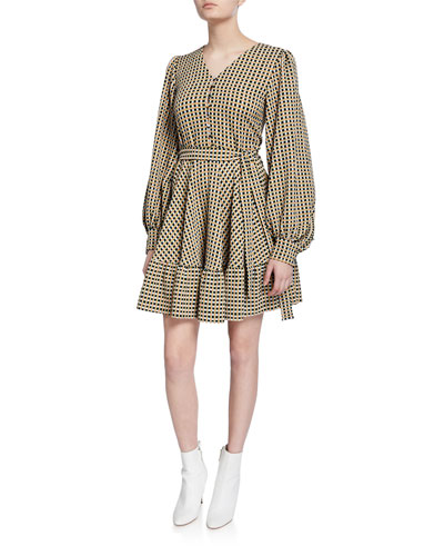 Farrow Printed Long-Sleeve Short Dress