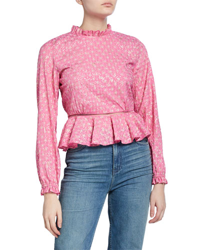 Shirley Printed Long-Sleeve Peplum Top