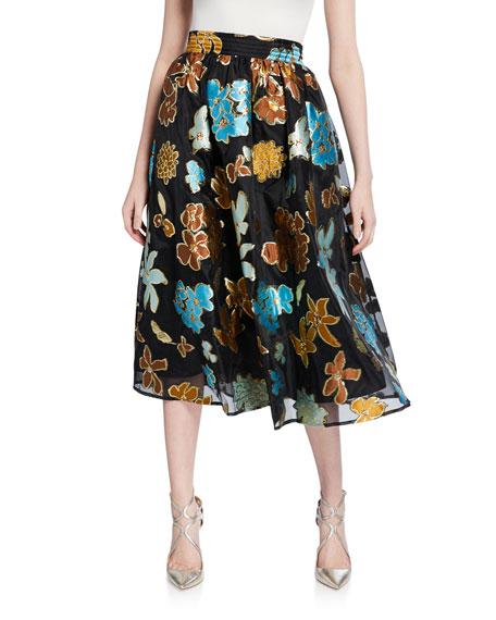 Stine Goya Laila Floral Metallic Midi Skirt In Black