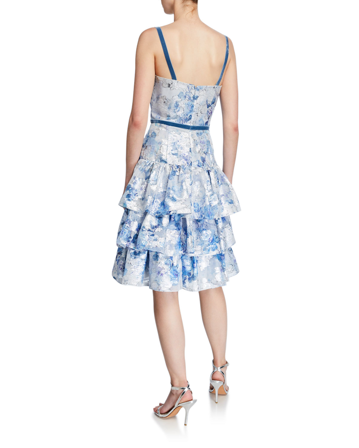 5f763fab Marchesa Notte Metallic Printed Fils Coupe Tiered Tea-Length Cocktail Dress  | Neiman Marcus