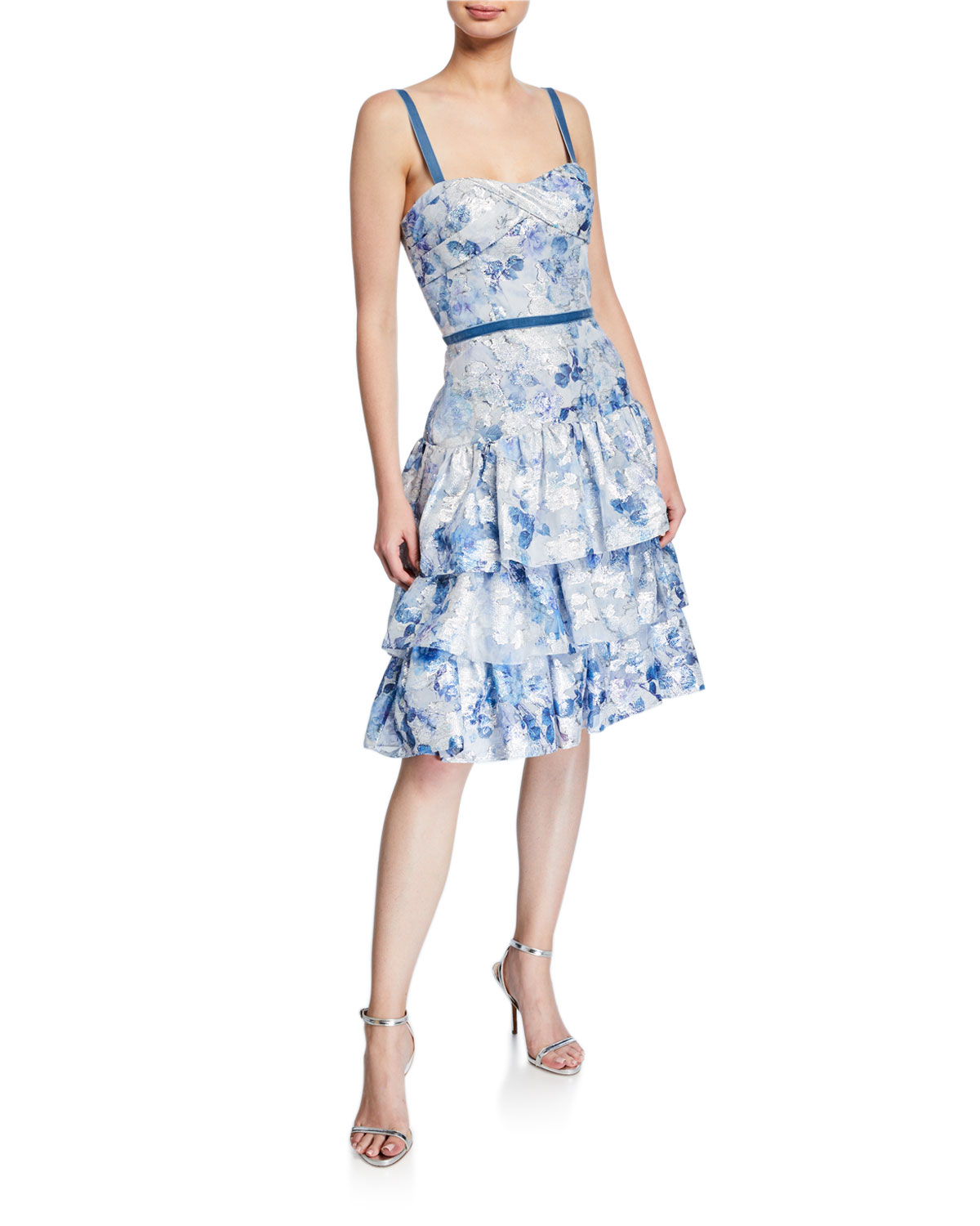 6f2e1fb7 Marchesa Notte Metallic Printed Fils Coupe Tiered Tea-Length Cocktail Dress