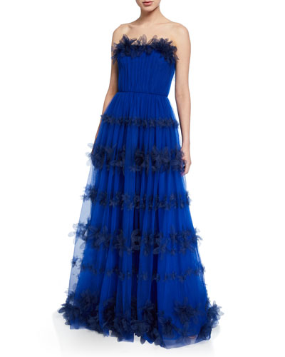 Strapless 3D Floral Stripe Tulle Ball Gown