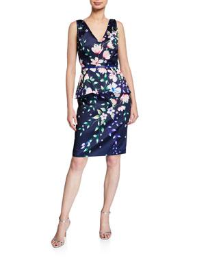 968e2539 Marchesa Notte Floral Mikado V-Neck Sleeveless Peplum Dress
