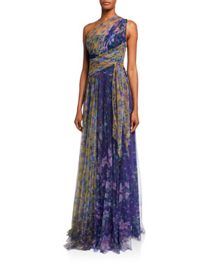 Marchesa Notte Colorblock Floral-Print One-Shoulder Tulle Dress w/ Back Cutout