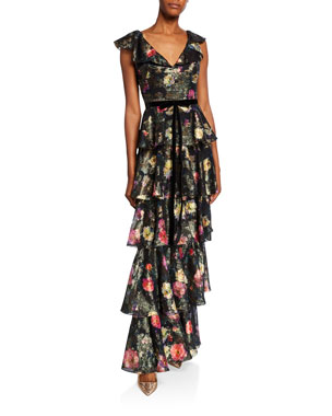 dc79a076c90 Marchesa Notte Metallic Printed V-Neck Sleeveless Tiered Fil Coupe Ruffle  Gown
