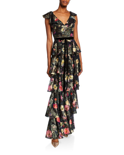 Metallic Printed V-Neck Sleeveless Tiered Fil Coupe Ruffle Gown