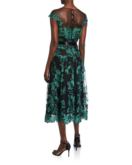 Rickie Freeman for Teri Jon Rem Metallic Floral Cap-Sleeve Tulle Cocktail Dress