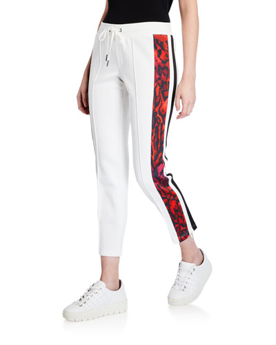 Ocelot-Stripe Cropped Track Pants
