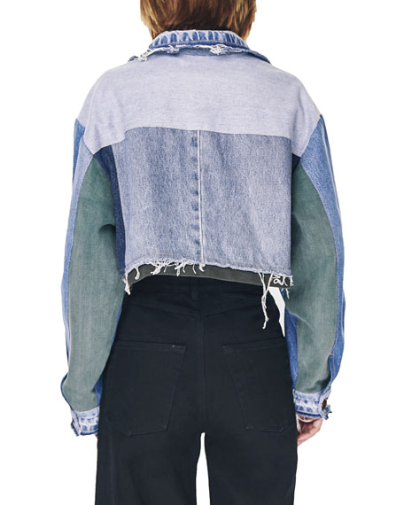 Ksenia Schnaider Reworked Denim Cropped Jacket