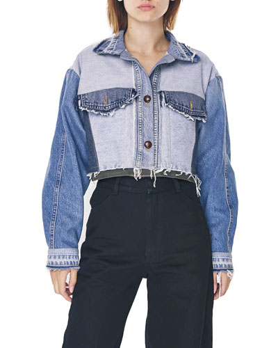 Reworked Denim Cropped Jacket