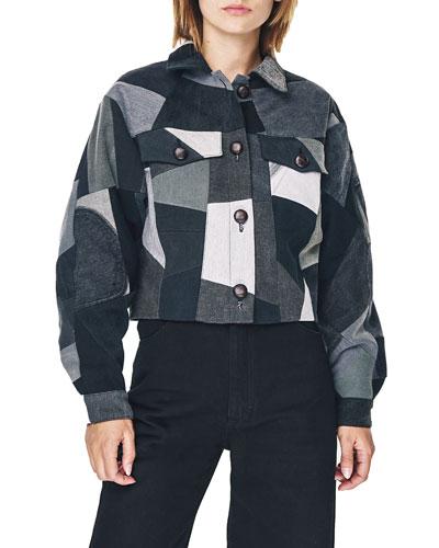 Patchwork Denim Cropped Jacket