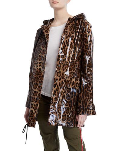 Snap-Front Leopard-Print Raincoat