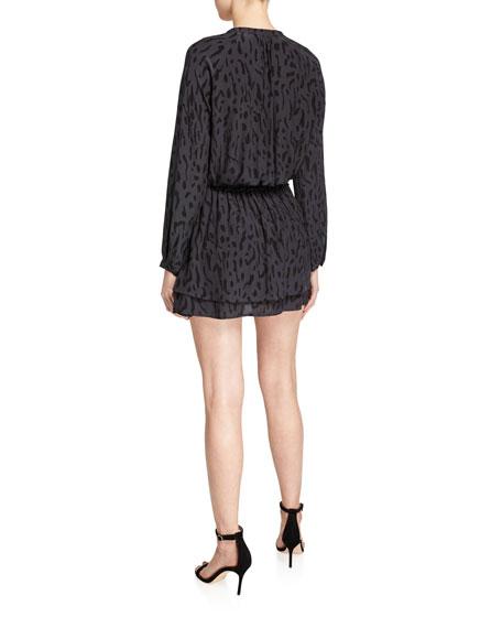 Rails Jasmine Tie-Front Printed Long-Sleeve Dress
