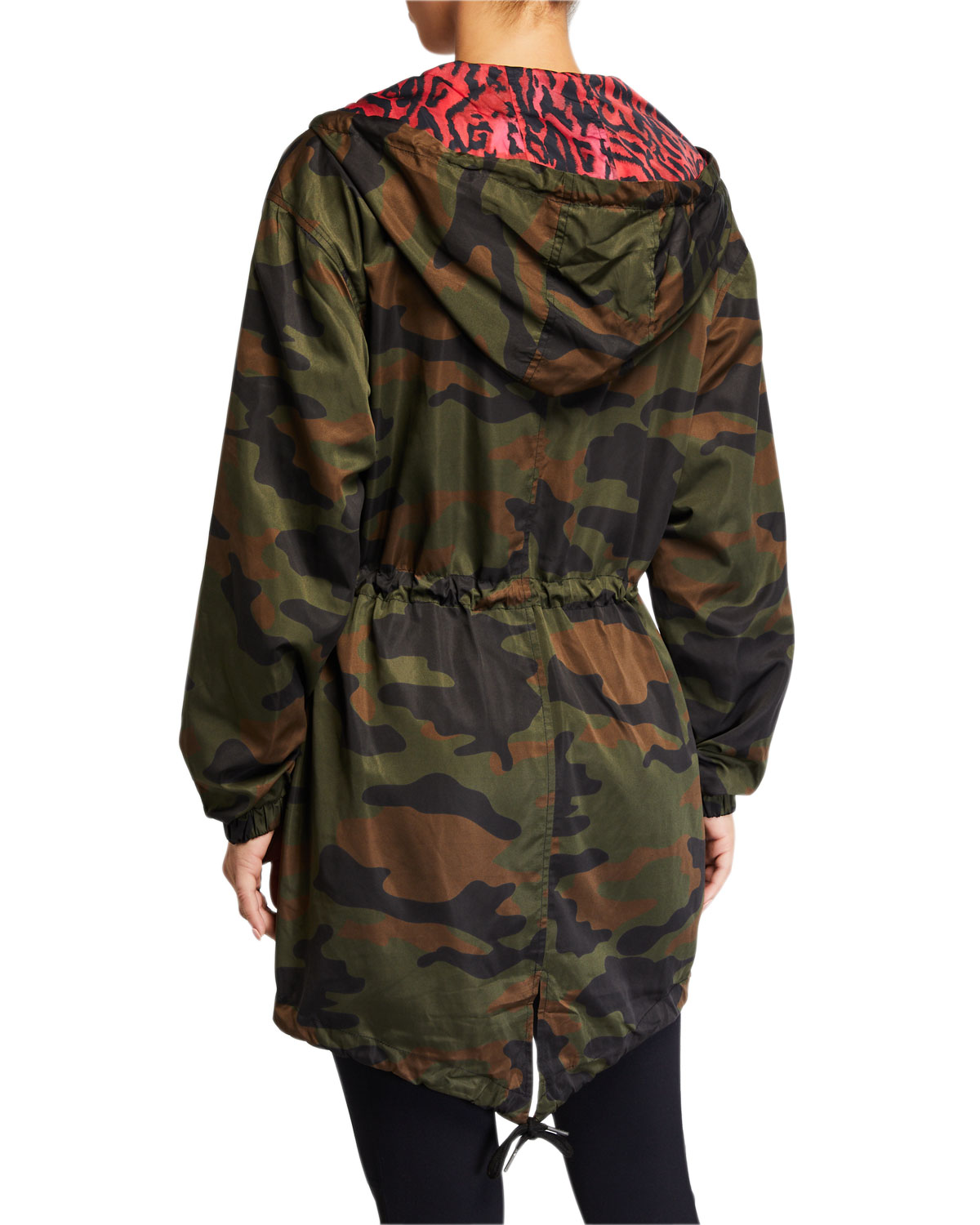 Reversible Camo Print Hooded Parka Jacket by Pam & Gela