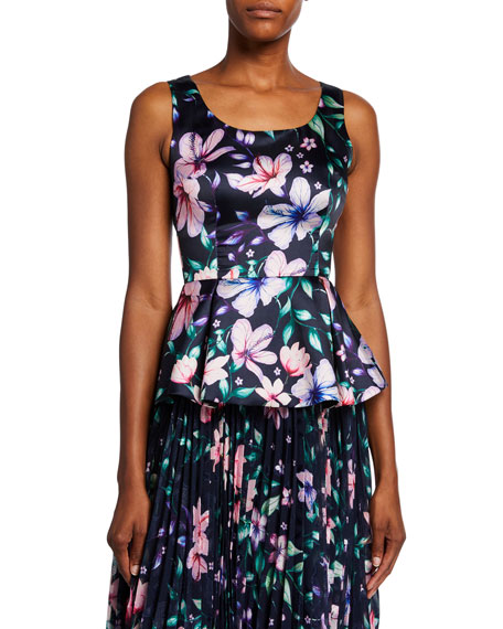 Marchesa Notte Floral-Printed Sleeveless Mikado Peplum Top w/ Cutout Back & Bow