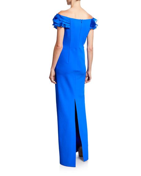 Rickie Freeman for Teri Jon Asymmetric Ruffle Off-Shoulder Cap-Sleeve Scuba Gown