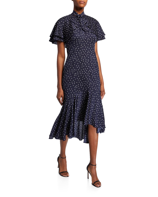 Polka Dot Short Sleeve Tiered Bolero Dress With Flounce Hem by Rickie Freeman For Teri Jon
