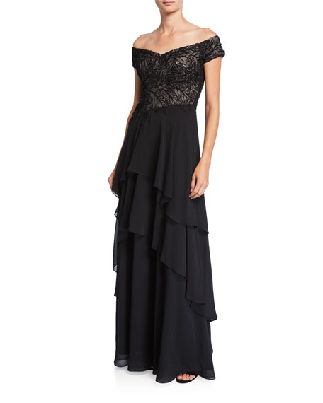Rickie Freeman for Teri Jon Beaded Off-the-Shoulder Tiered Skirt Gown
