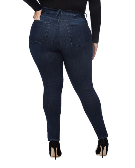 Good American Good Waist Skinny Ankle Jeans w/ Slit Hem - Inclusive Sizing
