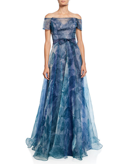Rene Ruiz Floral Off-the-Shoulder Short-Sleeve A-Line Gown