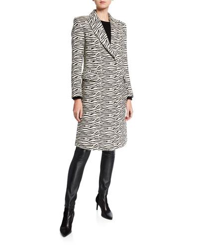 Zebra-Print Peaked-Lapel Overcoat