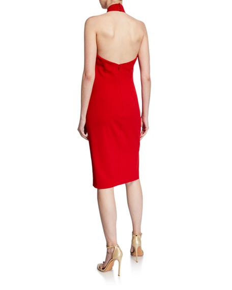 Badgley Mischka Collection Bow Halter Keyhole Cocktail Dress