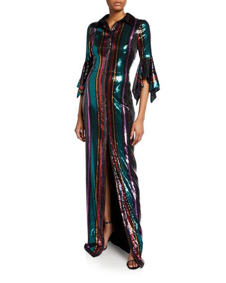 Badgley Mischka Collection Disco Stripe Sequin Column Gown with Slit