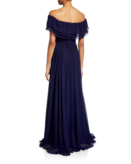 Badgley Mischka Collection Chiffon Off-the-Shoulder Short-Sleeve Ruffle Gown