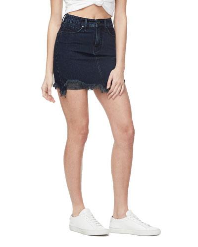 High-Rise Denim Mini Skirt w/ Frayed Hem - Inclusive Sizing