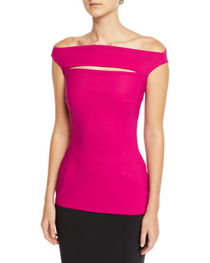 9ac07ba3ff8 Chiara Boni La Petite Robe Karen Slit-Front Off-the-Shoulder Top